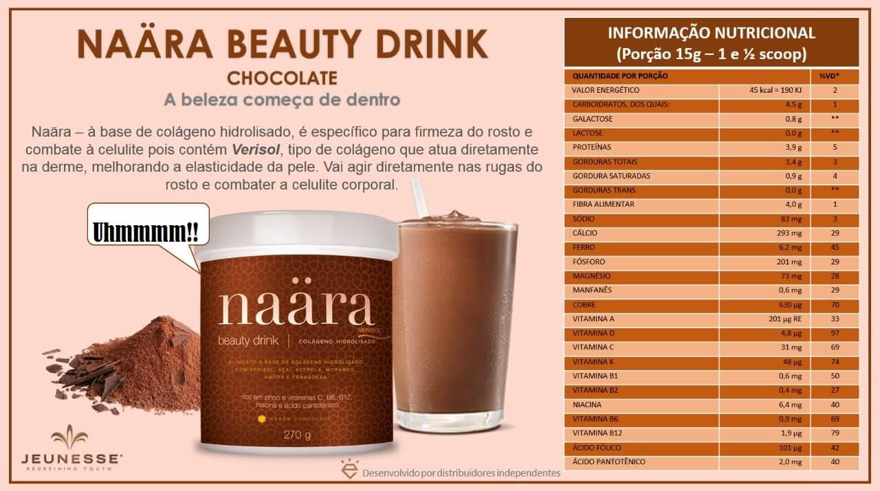 informacoes nutricionais naara chocolate