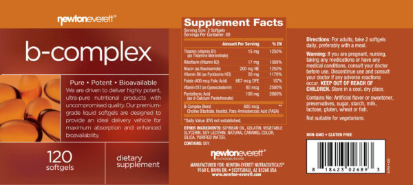 rotulo vitamina complexo b newton everett nutraceuticals