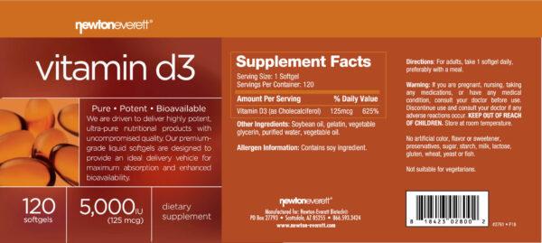 rotulo vitamina d3 newton everett nutraceuticals